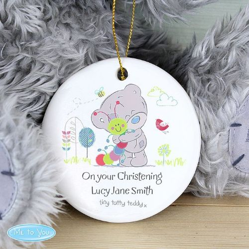Personalised Tiny Tatty Teddy Cuddle Bug Round Ceramic Decoration